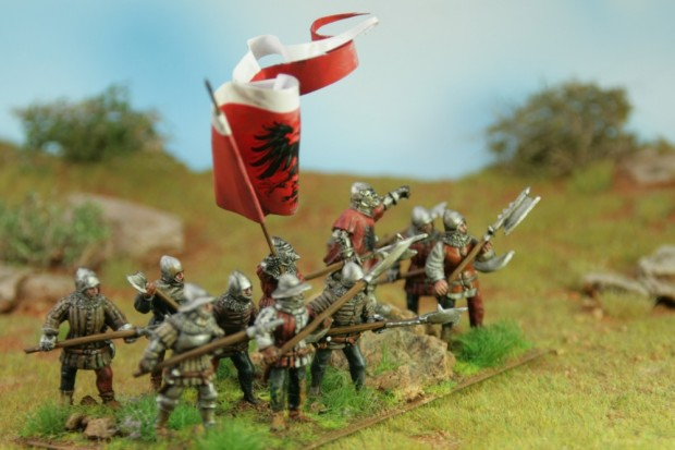 Medieval Infantry with pole arms in service of Frankfurt am Main, painted by Tankred, minatures by Perry Miniatures