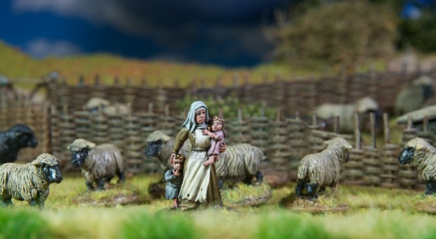Shepherd or Farmer woman with children miniature painted by Tankred