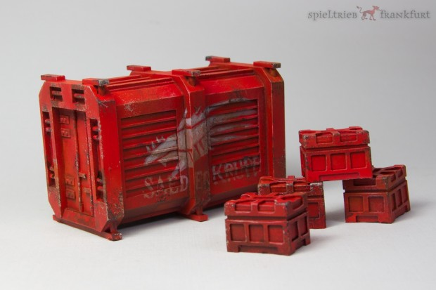 Container miniature for 28mm models from Pardulon painted by Tankred in Shadowrun style with Saeder Krupp Logo