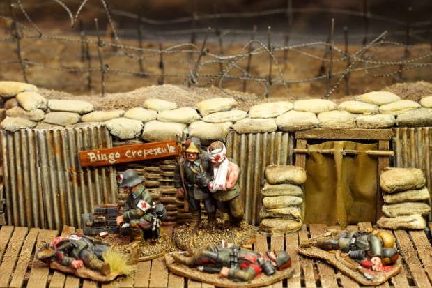 German wounded and medics WW1, miniatures by Great War Miniatures painted by Tankred