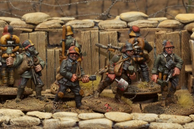 German trench raiders, minatures by Great War Miniatures painted by Tankred